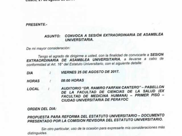 CONVOCATORIA A SESIÓN EXTRAORDINARIA DE ASAMBLEA UNIVERSITARIA