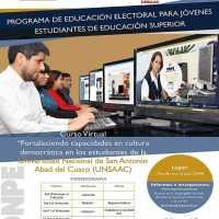 """Curso Virtual """"Fortaleciendo capacidades en la cultura democrática, en los estudiantes de la UNSAAC"""""""